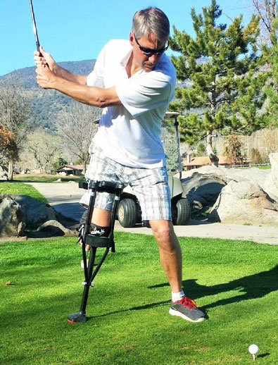 on crutches with bunions golfing man